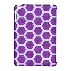 Hexagon2 White Marble & Purple Denim Apple Ipad Mini Hardshell Case (compatible With Smart Cover) by trendistuff