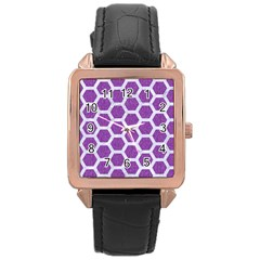 HEXAGON2 WHITE MARBLE & PURPLE DENIM Rose Gold Leather Watch