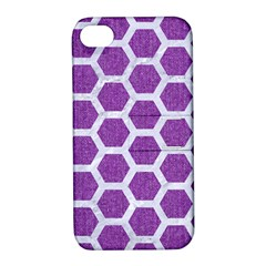 Hexagon2 White Marble & Purple Denim Apple Iphone 4/4s Hardshell Case With Stand by trendistuff