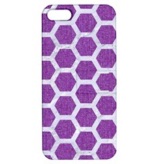 HEXAGON2 WHITE MARBLE & PURPLE DENIM Apple iPhone 5 Hardshell Case with Stand