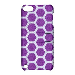 Hexagon2 White Marble & Purple Denim Apple Ipod Touch 5 Hardshell Case With Stand by trendistuff