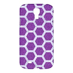 Hexagon2 White Marble & Purple Denim Samsung Galaxy S4 I9500/i9505 Hardshell Case by trendistuff