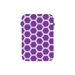 Hexagon2 White Marble & Purple Denim Apple Ipad Mini Protective Soft Cases by trendistuff