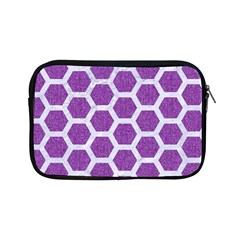 Hexagon2 White Marble & Purple Denim Apple Ipad Mini Zipper Cases by trendistuff