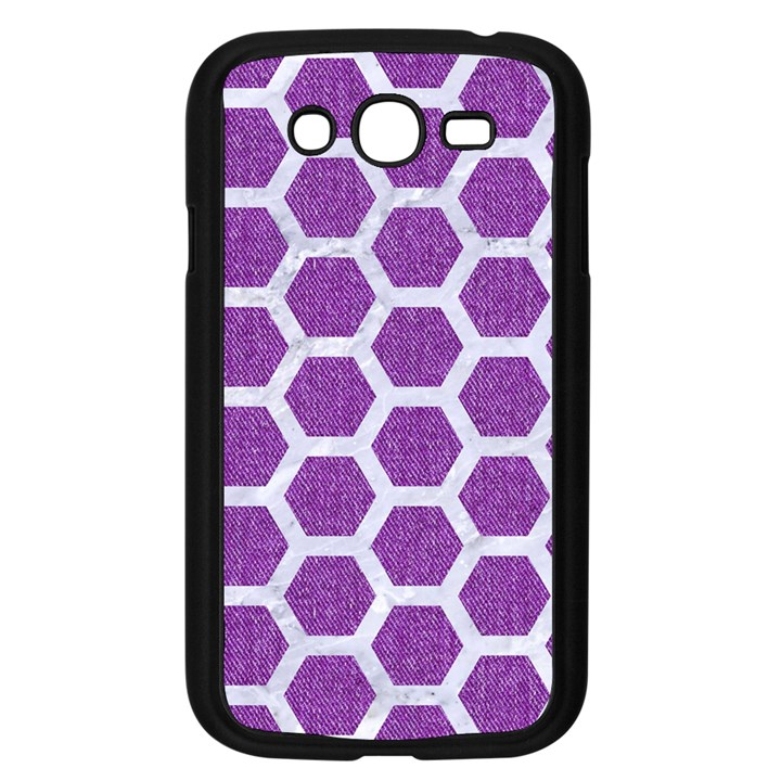 HEXAGON2 WHITE MARBLE & PURPLE DENIM Samsung Galaxy Grand DUOS I9082 Case (Black)