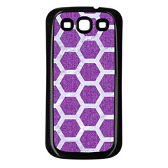 Hexagon2 White Marble & Purple Denim Samsung Galaxy S3 Back Case (black) by trendistuff