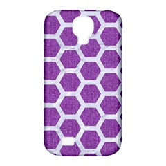 Hexagon2 White Marble & Purple Denim Samsung Galaxy S4 Classic Hardshell Case (pc+silicone) by trendistuff