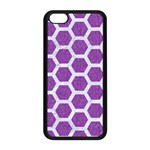 HEXAGON2 WHITE MARBLE & PURPLE DENIM Apple iPhone 5C Seamless Case (Black) Front