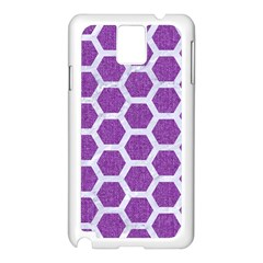 Hexagon2 White Marble & Purple Denim Samsung Galaxy Note 3 N9005 Case (white) by trendistuff