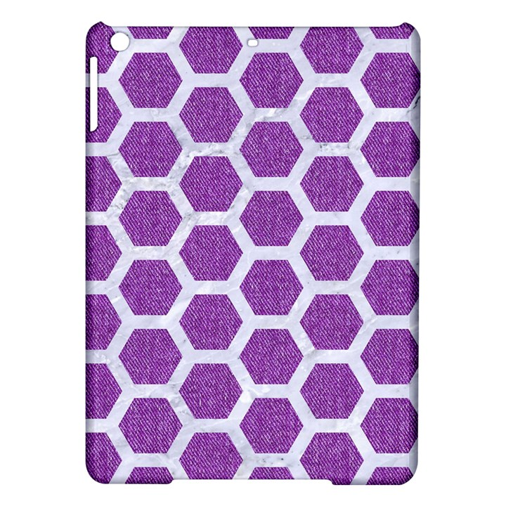 HEXAGON2 WHITE MARBLE & PURPLE DENIM iPad Air Hardshell Cases