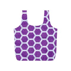 Hexagon2 White Marble & Purple Denim Full Print Recycle Bags (s)  by trendistuff