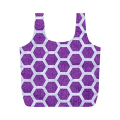 Hexagon2 White Marble & Purple Denim Full Print Recycle Bags (m)  by trendistuff