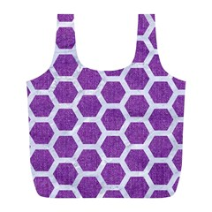 Hexagon2 White Marble & Purple Denim Full Print Recycle Bags (l)  by trendistuff