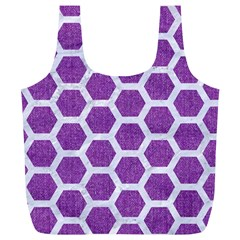 Hexagon2 White Marble & Purple Denim Full Print Recycle Bags (l)