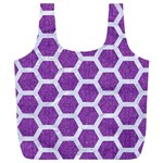 HEXAGON2 WHITE MARBLE & PURPLE DENIM Full Print Recycle Bags (L)  Front