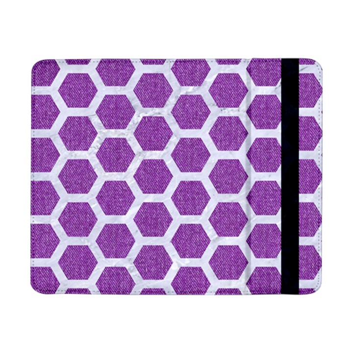 HEXAGON2 WHITE MARBLE & PURPLE DENIM Samsung Galaxy Tab Pro 8.4  Flip Case
