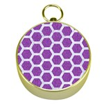HEXAGON2 WHITE MARBLE & PURPLE DENIM Gold Compasses Front
