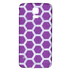 Hexagon2 White Marble & Purple Denim Samsung Galaxy S5 Back Case (white) by trendistuff