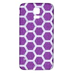 HEXAGON2 WHITE MARBLE & PURPLE DENIM Samsung Galaxy S5 Back Case (White) Front