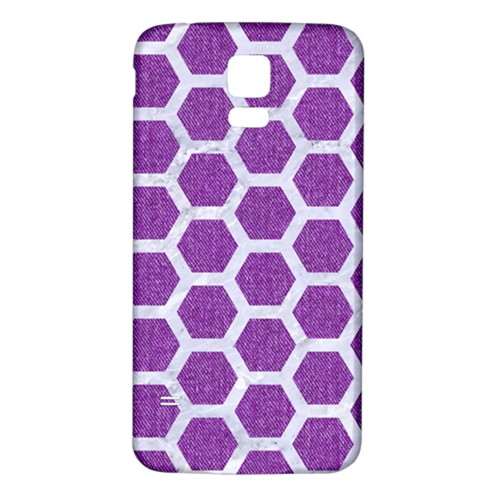 HEXAGON2 WHITE MARBLE & PURPLE DENIM Samsung Galaxy S5 Back Case (White)