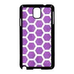 Hexagon2 White Marble & Purple Denim Samsung Galaxy Note 3 Neo Hardshell Case (black) by trendistuff