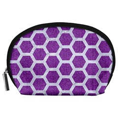 Hexagon2 White Marble & Purple Denim Accessory Pouches (large)  by trendistuff