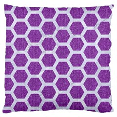 HEXAGON2 WHITE MARBLE & PURPLE DENIM Standard Flano Cushion Case (Two Sides)