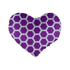 Hexagon2 White Marble & Purple Denim Standard 16  Premium Flano Heart Shape Cushions