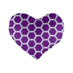HEXAGON2 WHITE MARBLE & PURPLE DENIM Standard 16  Premium Flano Heart Shape Cushions Front