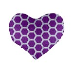 HEXAGON2 WHITE MARBLE & PURPLE DENIM Standard 16  Premium Flano Heart Shape Cushions Back