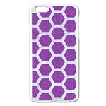 HEXAGON2 WHITE MARBLE & PURPLE DENIM Apple iPhone 6 Plus/6S Plus Enamel White Case Front
