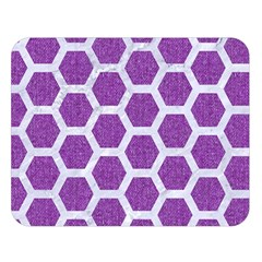 HEXAGON2 WHITE MARBLE & PURPLE DENIM Double Sided Flano Blanket (Large)