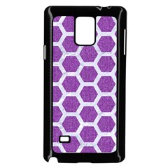 Hexagon2 White Marble & Purple Denim Samsung Galaxy Note 4 Case (black) by trendistuff