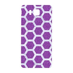 Hexagon2 White Marble & Purple Denim Samsung Galaxy Alpha Hardshell Back Case by trendistuff