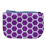 HEXAGON2 WHITE MARBLE & PURPLE DENIM Large Coin Purse Front