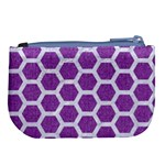 HEXAGON2 WHITE MARBLE & PURPLE DENIM Large Coin Purse Back