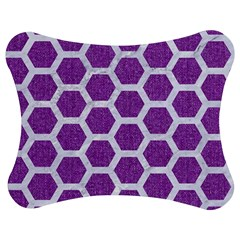 HEXAGON2 WHITE MARBLE & PURPLE DENIM Jigsaw Puzzle Photo Stand (Bow)