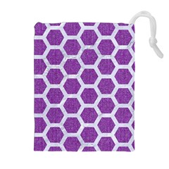 Hexagon2 White Marble & Purple Denim Drawstring Pouches (extra Large) by trendistuff