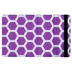 Hexagon2 White Marble & Purple Denim Apple Ipad Pro 12 9   Flip Case by trendistuff