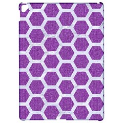 Hexagon2 White Marble & Purple Denim Apple Ipad Pro 12 9   Hardshell Case by trendistuff