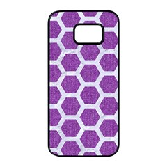 Hexagon2 White Marble & Purple Denim Samsung Galaxy S7 Edge Black Seamless Case by trendistuff