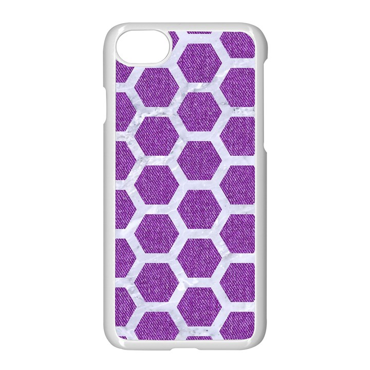 HEXAGON2 WHITE MARBLE & PURPLE DENIM Apple iPhone 7 Seamless Case (White)