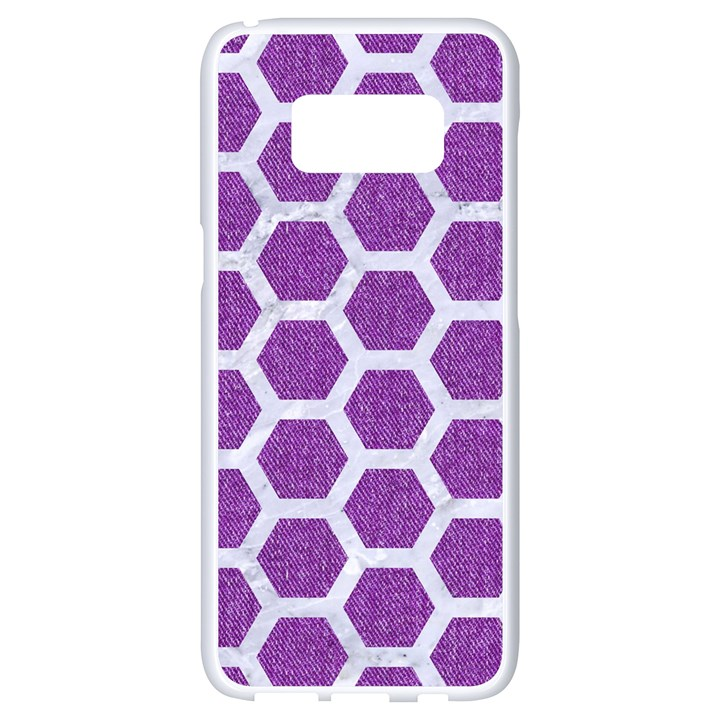 HEXAGON2 WHITE MARBLE & PURPLE DENIM Samsung Galaxy S8 White Seamless Case
