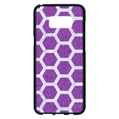 Hexagon2 White Marble & Purple Denim Samsung Galaxy S8 Plus Black Seamless Case by trendistuff