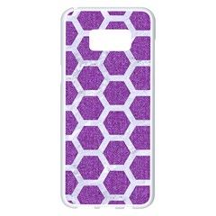 Hexagon2 White Marble & Purple Denim Samsung Galaxy S8 Plus White Seamless Case by trendistuff