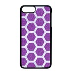 HEXAGON2 WHITE MARBLE & PURPLE DENIM Apple iPhone 8 Plus Seamless Case (Black) Front