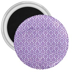 Hexagon1 White Marble & Purple Denim (r) 3  Magnets by trendistuff
