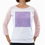 HEXAGON1 WHITE MARBLE & PURPLE DENIM (R) Girly Raglans Front