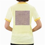 HEXAGON1 WHITE MARBLE & PURPLE DENIM (R) Women s Fitted Ringer T-Shirts Back