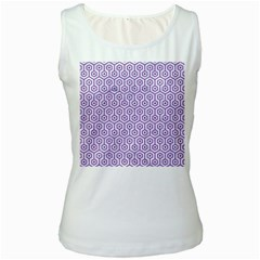 Hexagon1 White Marble & Purple Denim (r) Women s White Tank Top by trendistuff
